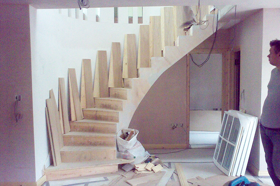 installing the steps of the stairs