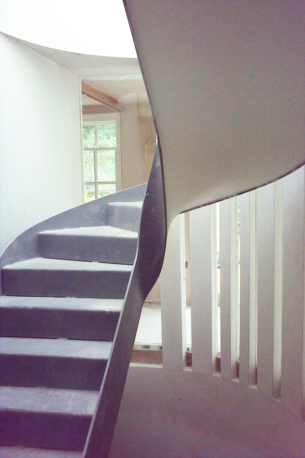 floating helical concrete staircase
